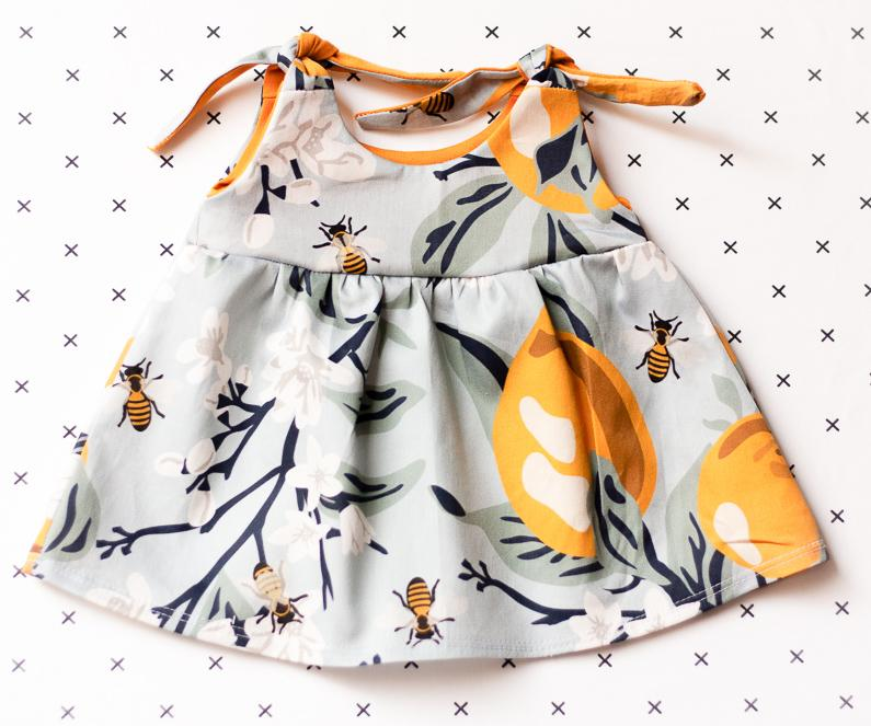 organic baby clothes - bees dress