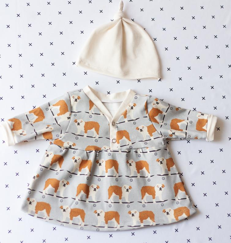 organic cotton baby clothes bulldog set