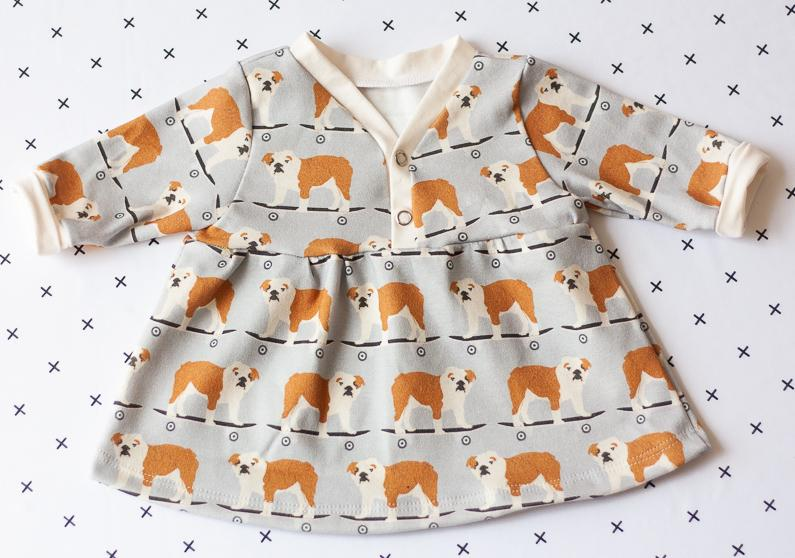 organic baby clothes - bulldog dress