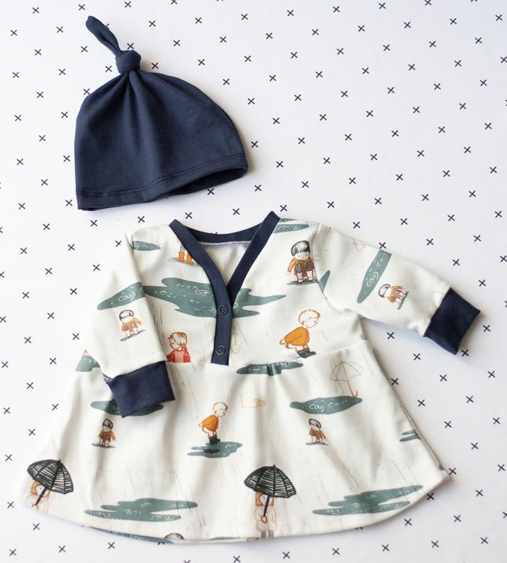 organic baby clothes - baby girl dress with rain puddles print