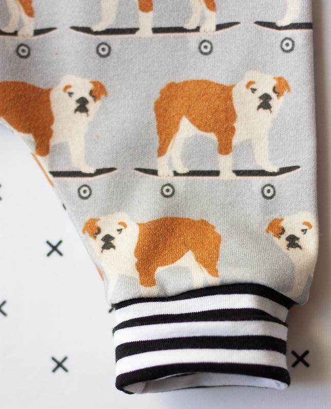 infant baby clothes organic romper bulldogs print