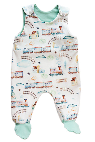 Organic Cotton Baby Clothes - Train Overall with Feet