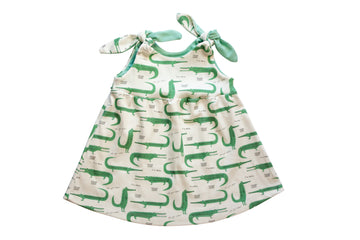 organic baby girl dress with alligators print