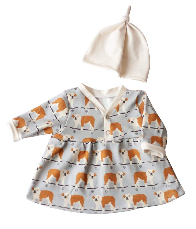 Organic Baby Clothes Set - Bulldogs Dress