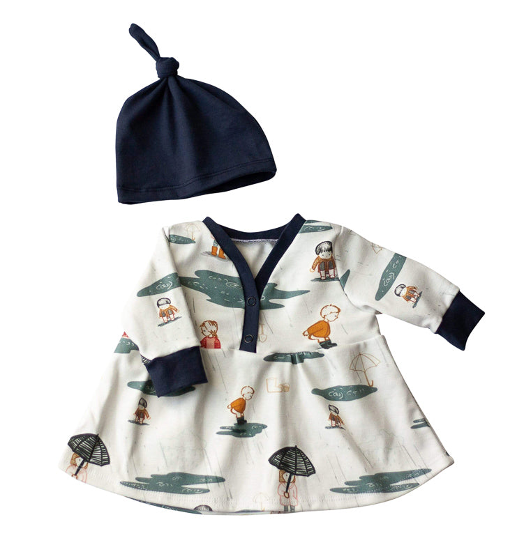 Organic Baby Clothes Set -  Rainy Day Dress