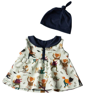 Organic Baby Clothes Set -  Yoga & Foxes Dress