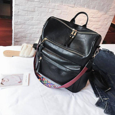Retro Large Backpack Women PU Leather Rucksack Women's Knapsack Travel Backpacks Shoulder School Bags Mochila Back Pack XA96H - Bossladys Boutique