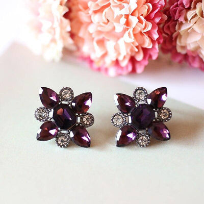 12 Colors Crystal  Stud Earrings - Bossladys Boutique