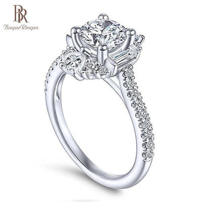 Bague Ringen Classic 100% Real Silver 925 Ring with 6mm Round Shape Zircon Ring Weddings Engagement Jewerly Size 6-10 Wholesale - Bossladys Boutique