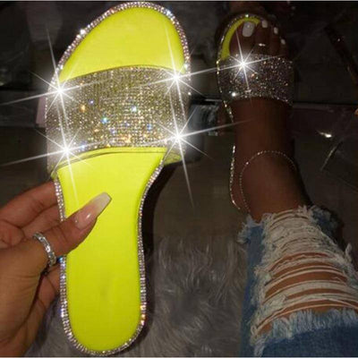 Glitter Slippers Women Summer Sandals 2020 Fashion Bling Female Candy Color Flip Flops Beach Diamond Flat Shoes Outdoor Sandals - Bossladys Boutique