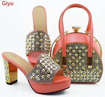 doershow beautiful Shoes and Bag Set African Sets 2019 Italian Shoe Bag Set Decorated with Rhinestone High Quality!SKO1-6 - Bossladys Boutique