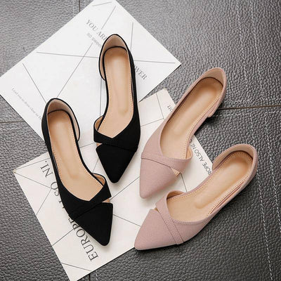 Women Flats Pink Black Pure Color Plus Small Size 33 34 Large 41 42 43 44 Suede Leather Pointed Toe Office Lady Flat Heel Shoes - Bossladys Boutique