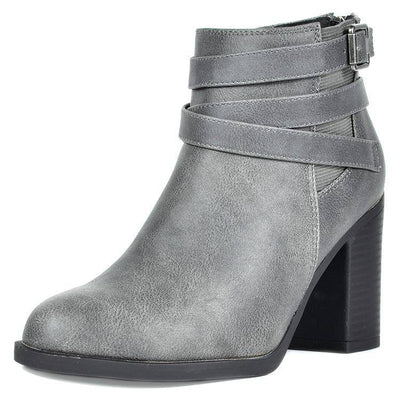 Women thick high heel ankle boots - Bossladys Boutique