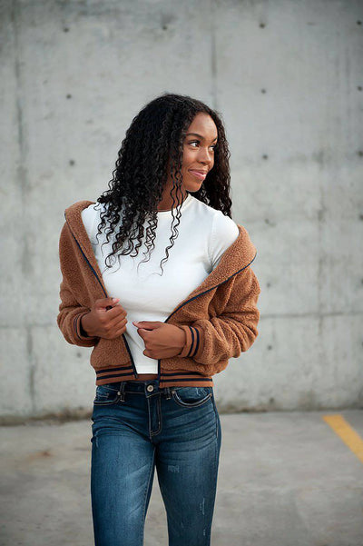 Bode Sherpa Winter Jacket Brown And Navy - Bossladys Boutique