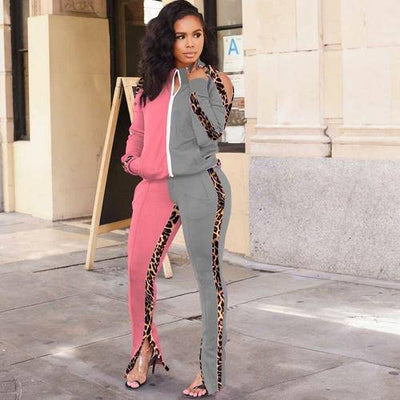 Off Shoulder Patchwork Leopard Printed Suit Set - Bossladys Boutique