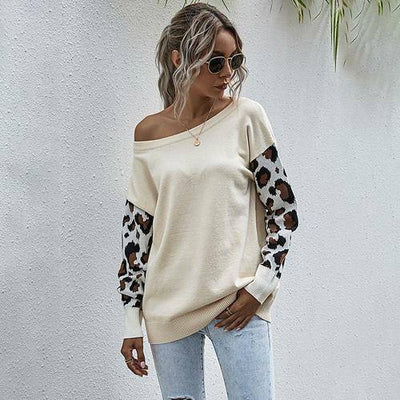 Patchwork Leopard Printed Long Sleeve Knitwear - Bossladys Boutique