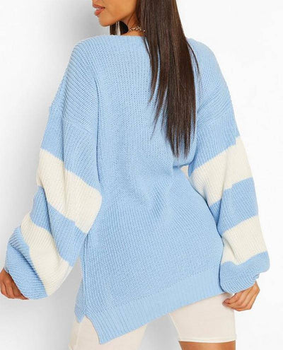 V-neck Long Sleeve Knitted Sweater - Bossladys Boutique