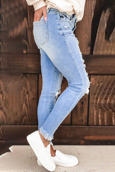 Fashion Light Blue Washed Ripped Holes Jeans - Bossladys Boutique