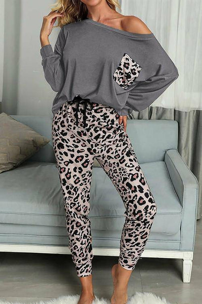 Women's Gray Casual Long Sleeve Leopard Pants Loungewear Set - Bossladys Boutique