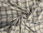 LEINEN / BAUMWOLLE VOILE CHECK BLUE WHITE GREY