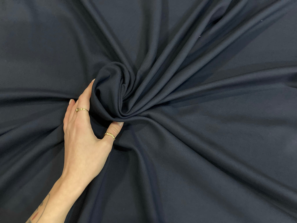 NAVY BLUE VISCOSE ELASTIC CANVAS - 1 METER