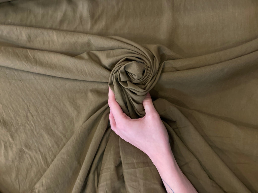 KHAKI GREEN COTTON LINEN CANVAS - 1 METER