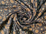 VISCOSE CREPE ROSETTES WITH BIRDS GRAY / BLACK BACKGROUND