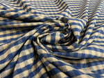 VICHY-CHEVRON BLUE ROYAL BEIGE FLANNEL