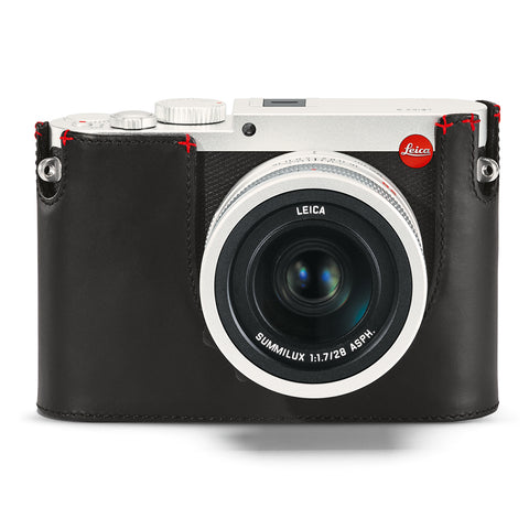 Leica Protector Q (Typ 116), Black Leather with Red hand stitch