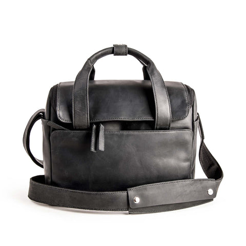 Harold's Lederwaren - 2in1 Leather Camera Bag, Medium, Black