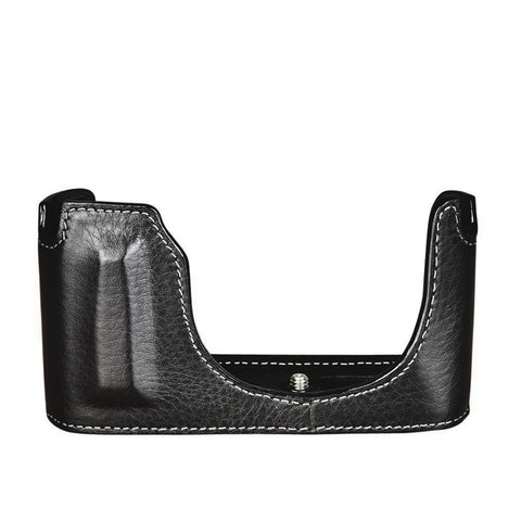 Oberwerth Half Case for Leica Q2  - Casual Line, Black with White Stitching
