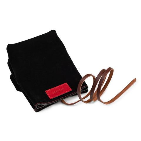 Arte di Mano Ever Dry Camera Pouch - Black Suede with Red Stitching