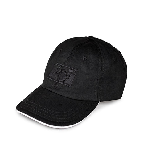 M10 Monochrom Twill Slide Buckle Baseball Cap, Black with White Brim
