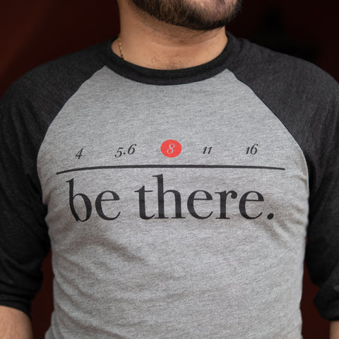F/8 and Be There Baseball Tee, Heather Gray/Black, Large