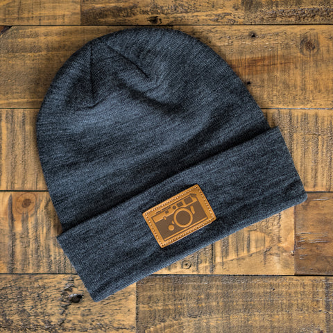 M6 Leather Patch Beanie, Charcoal Gray