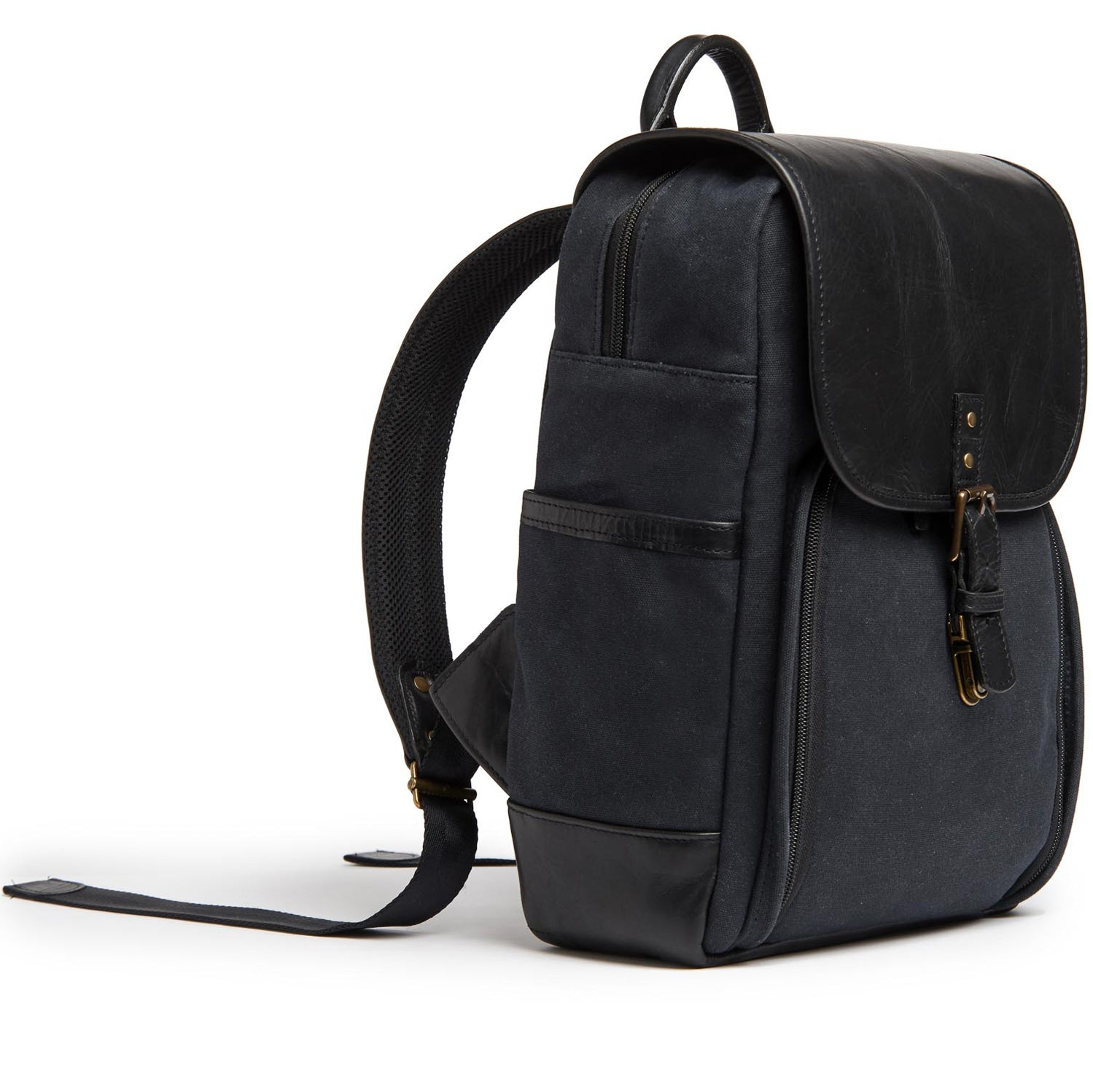 ONA Monterey Canvas/Leather Backpack - Black/Black