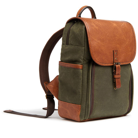 ONA Monterey Canvas/Leather Backpack - Olive/Cognac