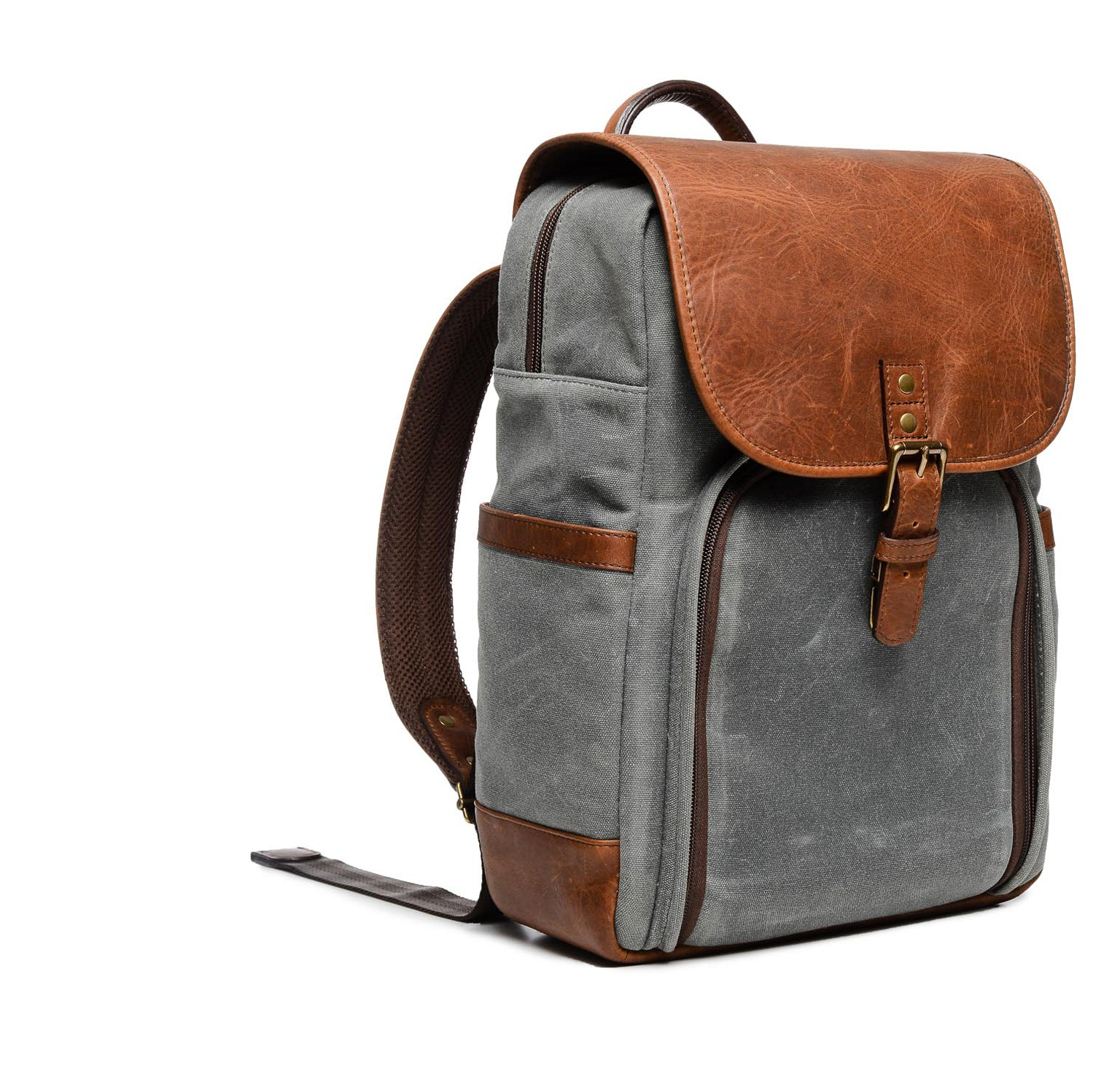 ONA Monterey Canvas/Leather Backpack - Smoke/Antique Cognac