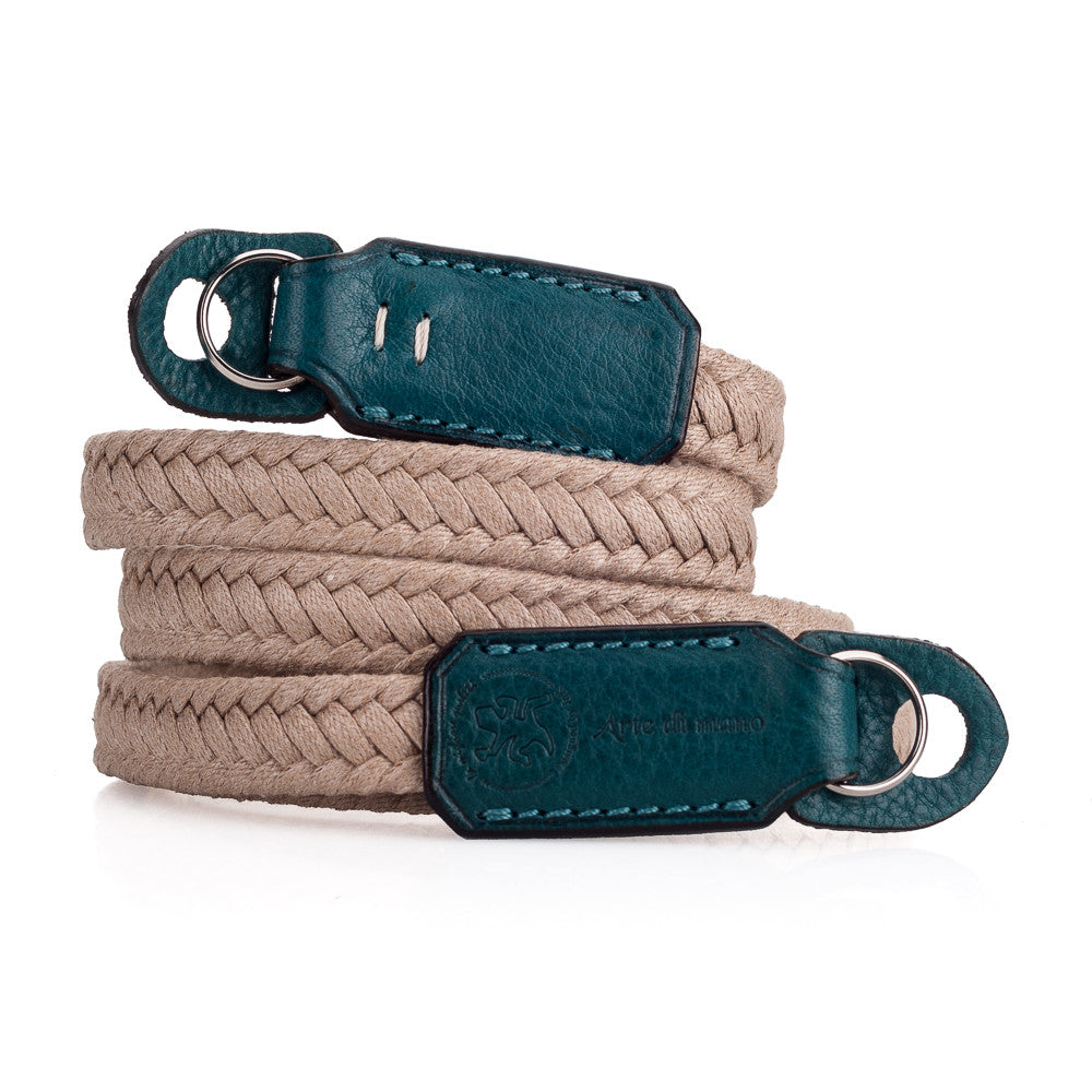 Arte di Mano Waxed Cotton Neck Strap - Beige Cotton with Minerva Blue Accents