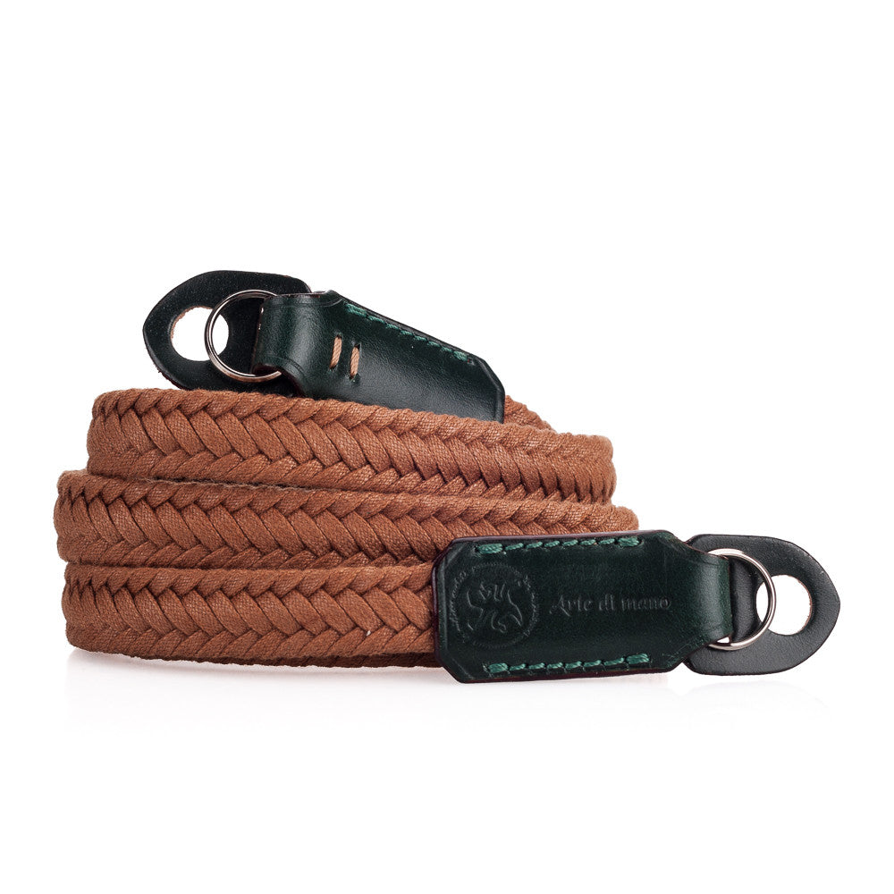 Arte di Mano Waxed Cotton Neck Strap - Brown Cotton with Bridle Green Accents