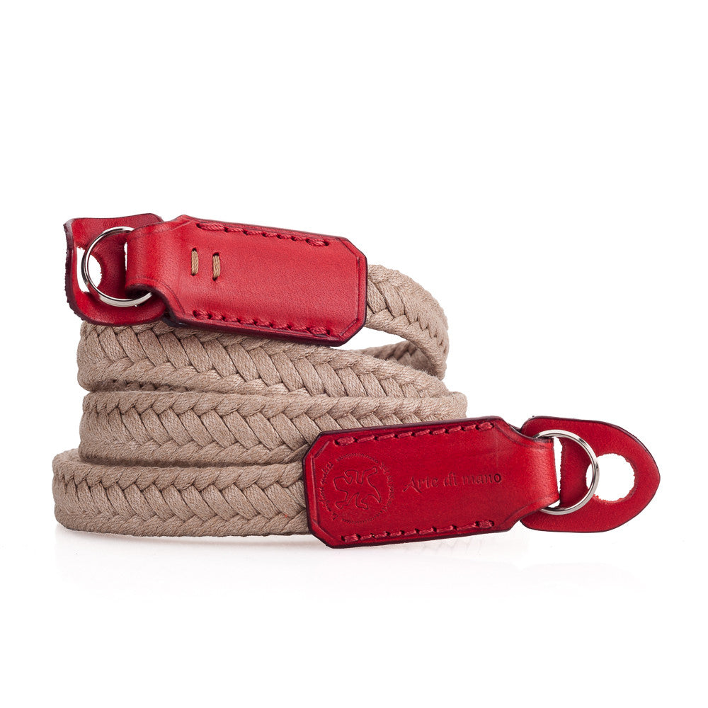Arte di Mano Waxed Cotton Neck Strap - Beige Cotton with Buttero Red Leather Accents