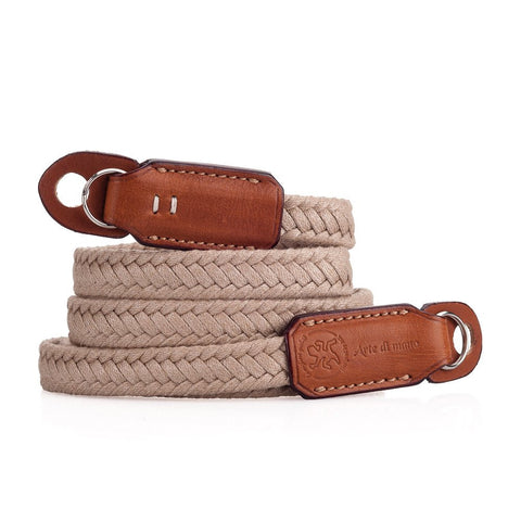 Arte di Mano 120cm Extra Long Waxed Cotton Neck Strap - Beige Cotton with Barenia Tan Leather Accents