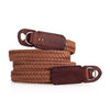 Arte di Mano 120cm Extra Long Waxed Cotton Neck Strap - Brown Cotton with Rally Volpe Leather Accents