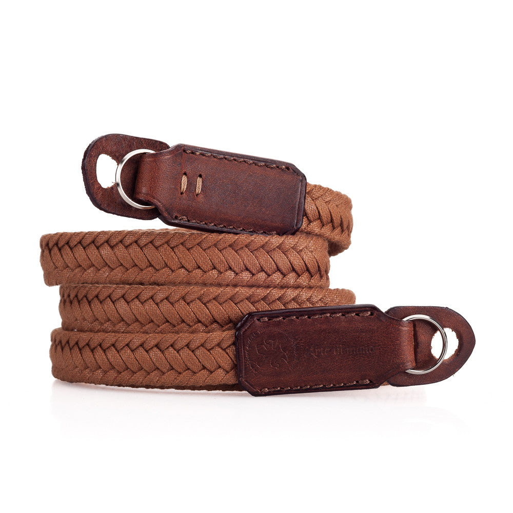Arte di Mano Waxed Cotton Neck Strap - Brown Cotton with Rally Volpe Leather Accents