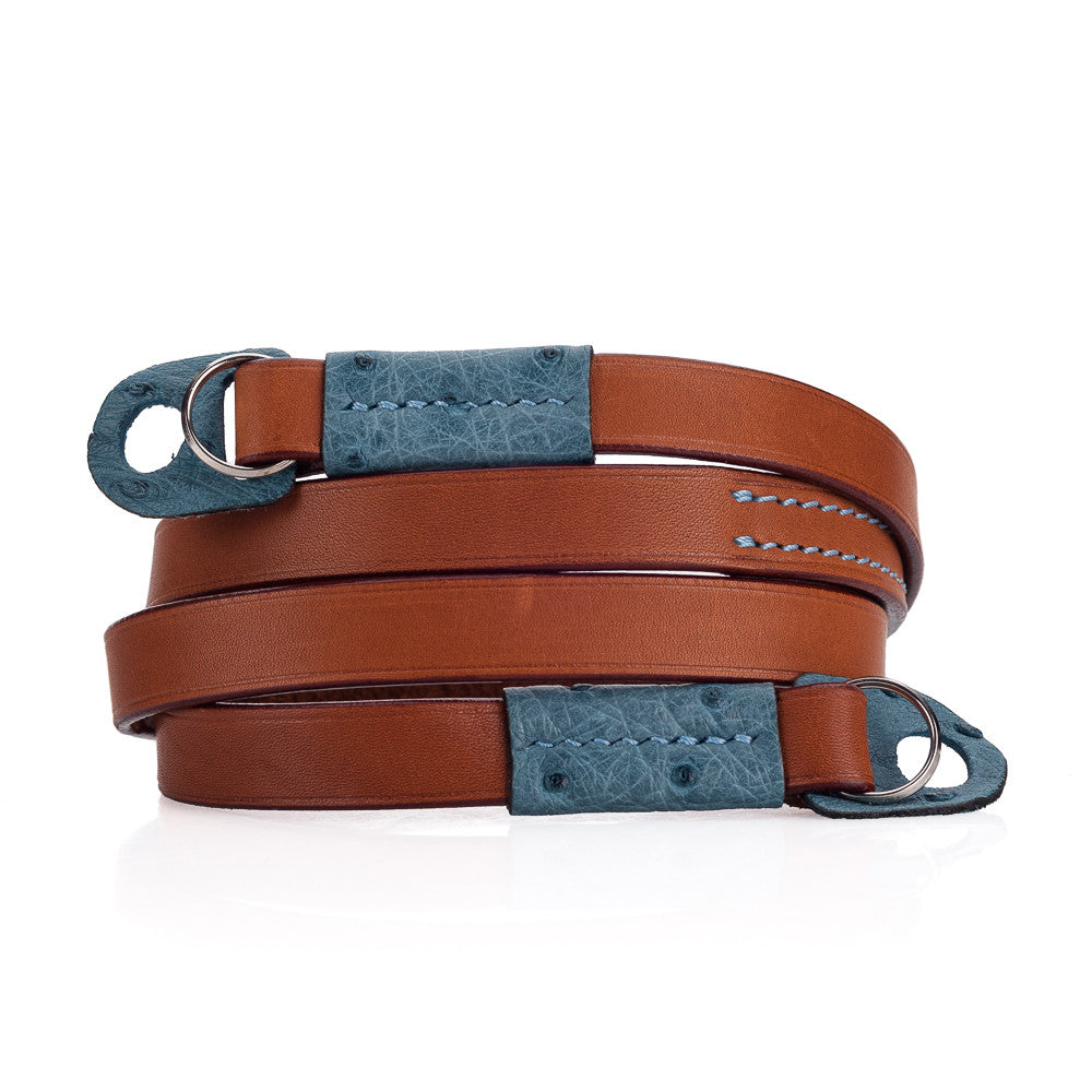 Arte di Mano Comodo Neck Strap - Barenia Tan with Ostrich Sky Blue Accents
