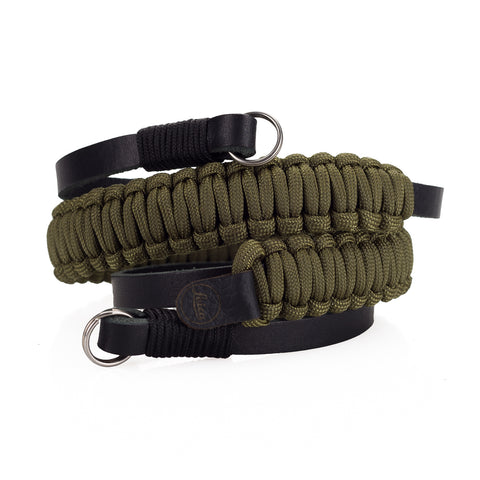 Leica Paracord Strap by Cooph, Black/Olive, 100cm, Key-Ring Style
