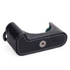 Used Arte di Mano Half Case for Leica M (Typ 240) for Regular Handgrip with Finger Loop Cutout - Minerva Black with White Stitching