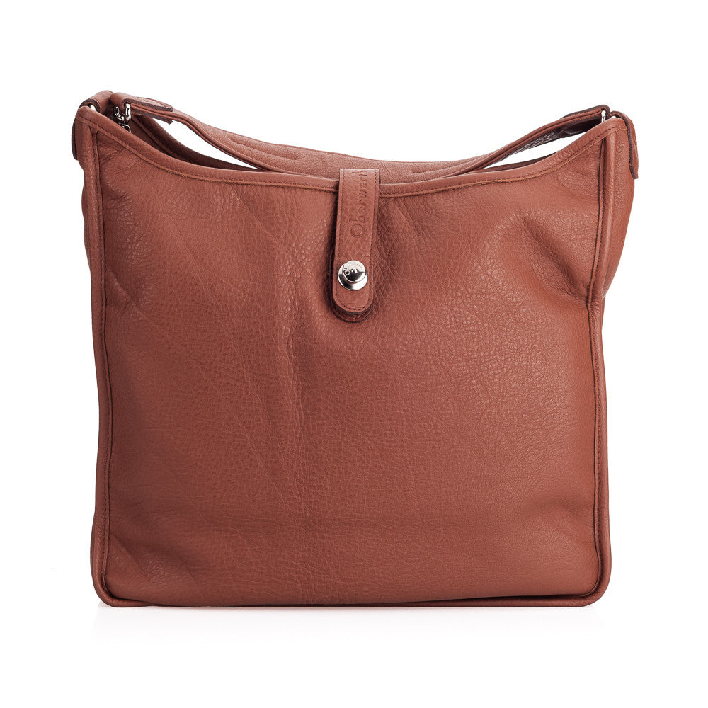 Oberwerth Kate Camera/Business Bag, Cognac Leather with Silver Buckles, Clutch and Keywallet