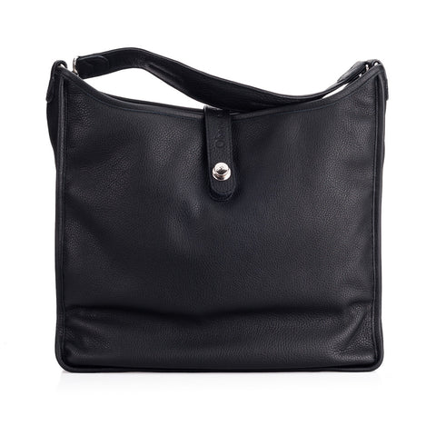 Oberwerth Kate Photo Bag, Black Leather with Silver Buckles, Clutch and Keywallet