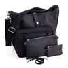 Oberwerth Kate Camera/Business Bag, Black Leather with Silver Buckles, Clutch and Keywallet